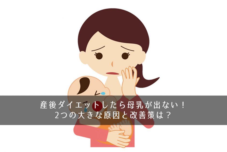 産後ダイエットしたら母乳が出ない!2つの大きな原因と改善策は?