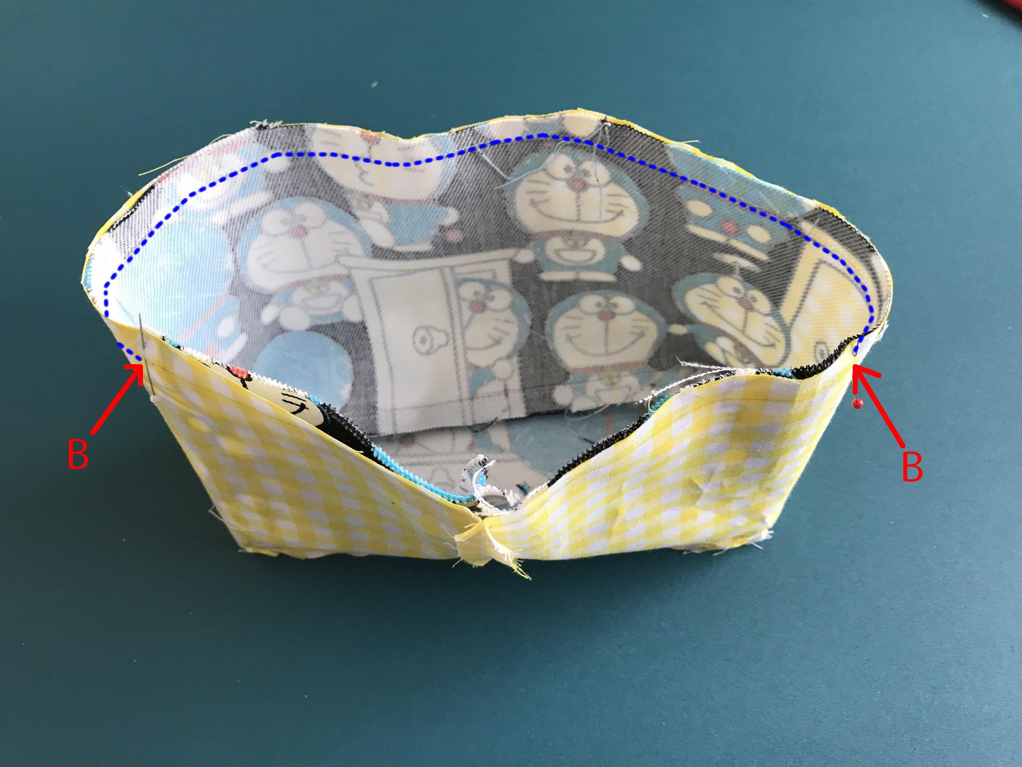 お弁当袋の口を縫う